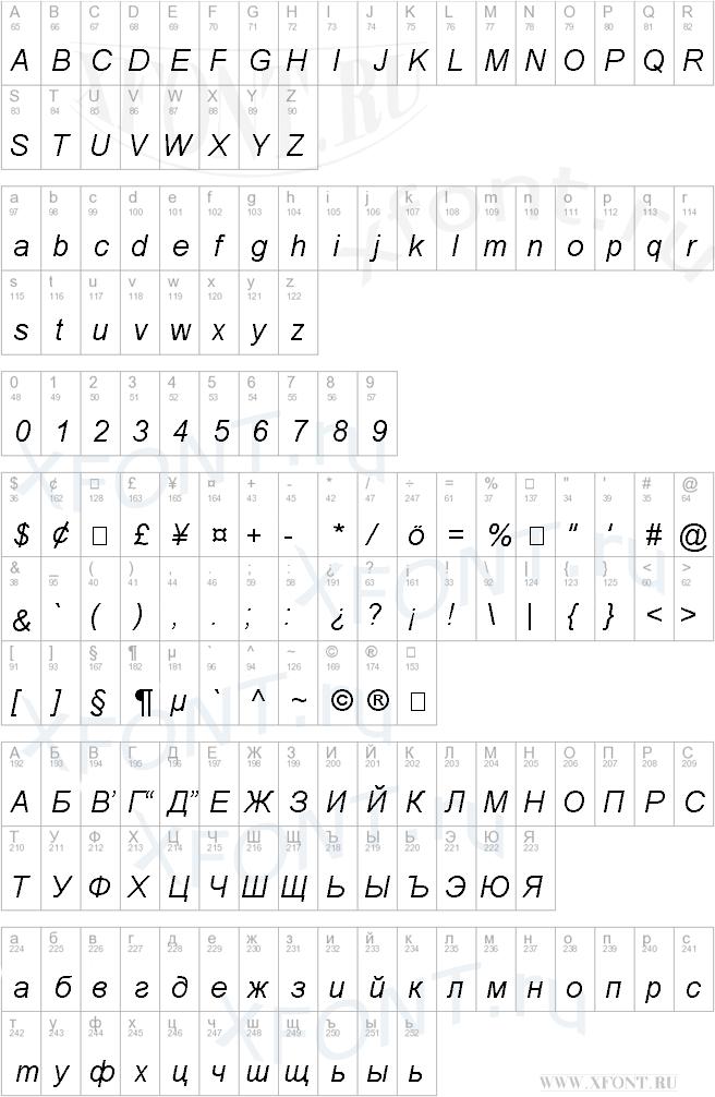 Шрифт arial cyr