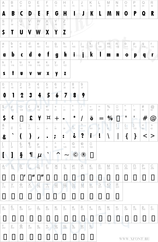 Futura Bold Condensed BT | XFont ru - шрифты, скачать шрифт бесплатно